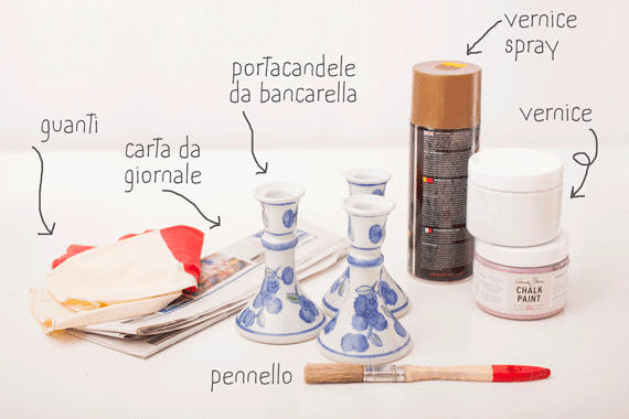 Portacandele di ceramica rinnovati con chalk paint
