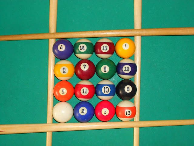Installation of magic square 4x4 using pool balls (16 is the white ball) photo 1.