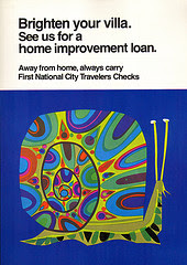 Vintage 1960s bank poster by David Klein with snail