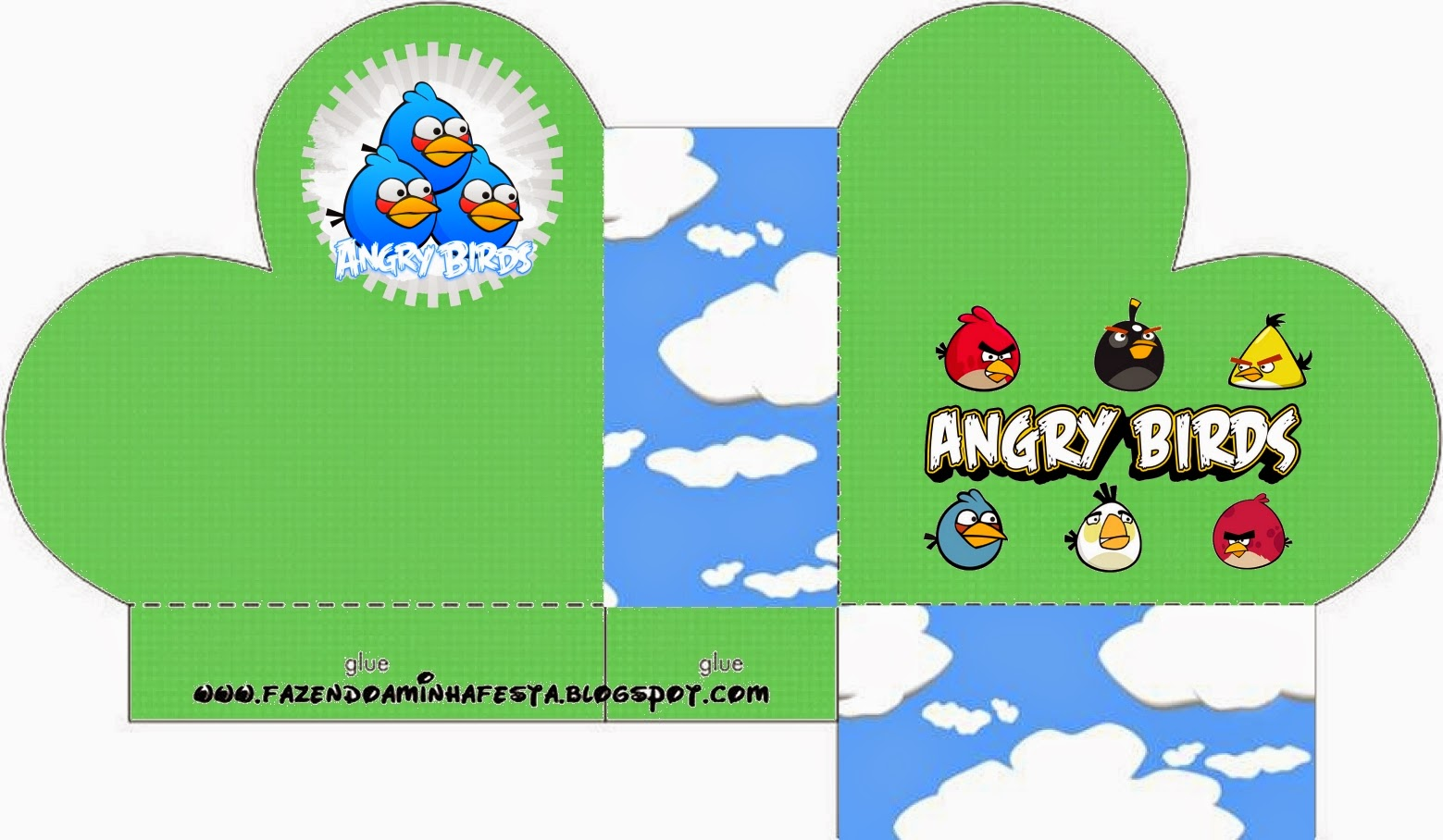 Heart Shaped Open Box of Angry Birds with Clouds.