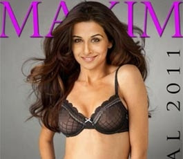vidya balan posing in black bikini for maxim