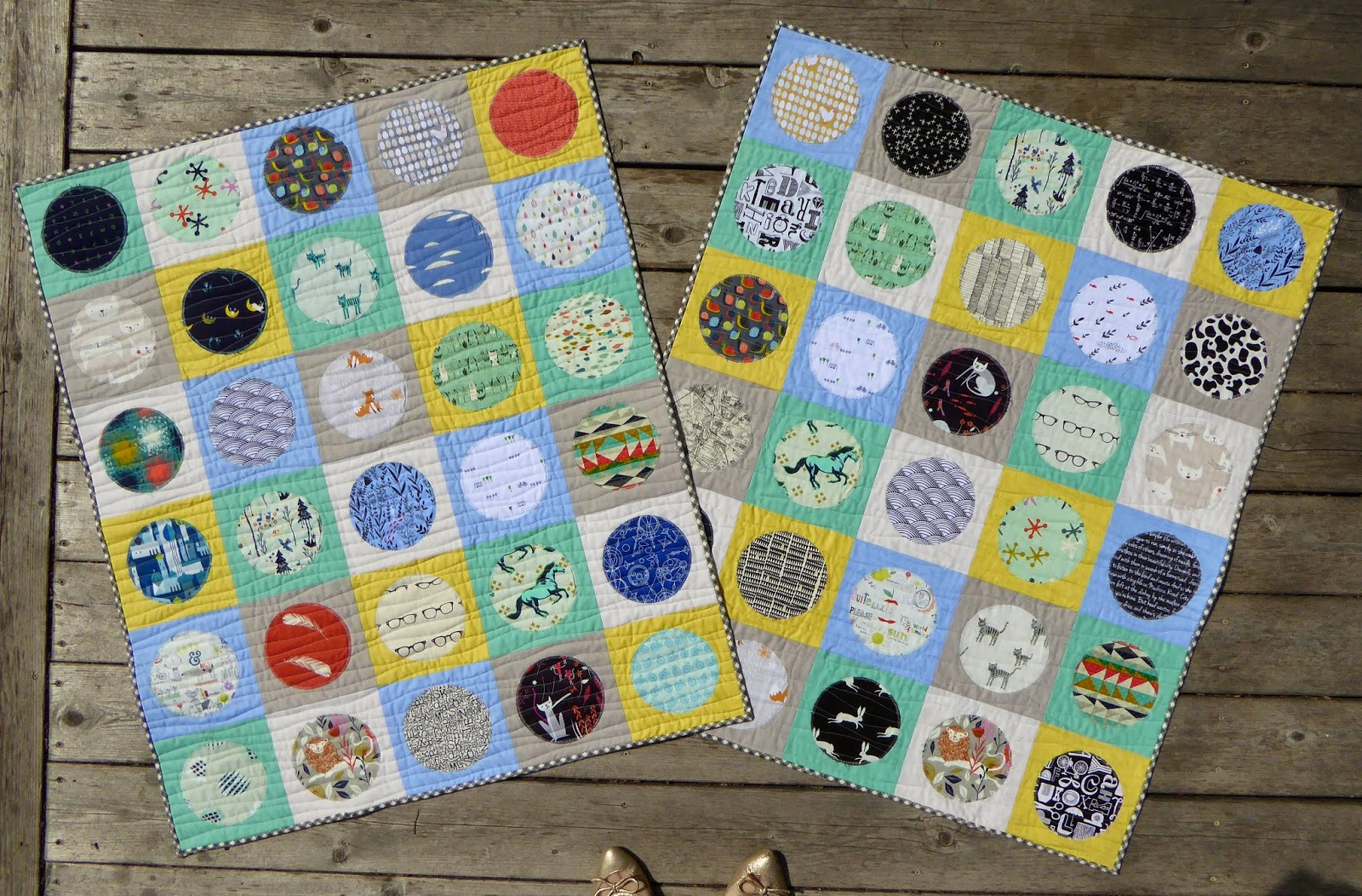 Baby boy circle quilts for Quilt material for boys