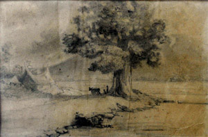 Gurunya dalam cara menggambar, pemandangan di danau singkarak dengan