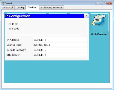 Konfigurasi IP static Server 0