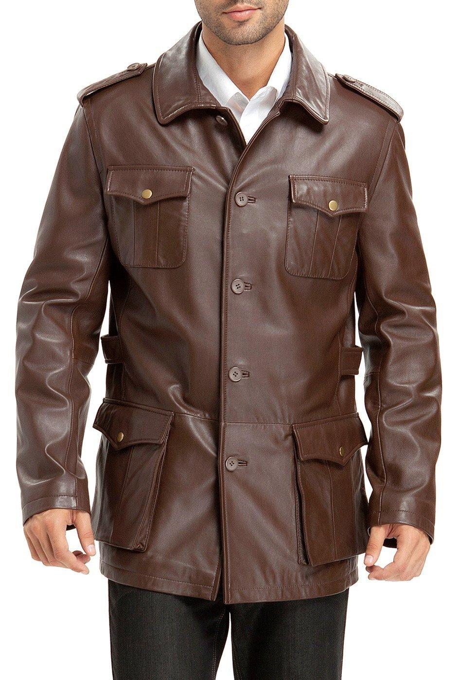 AsEstilo Store: LEATHER MILITARY JACKET FOR MEN