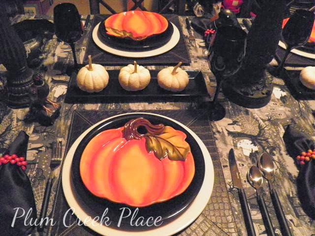 Halloween tablescape, black and whit, orange