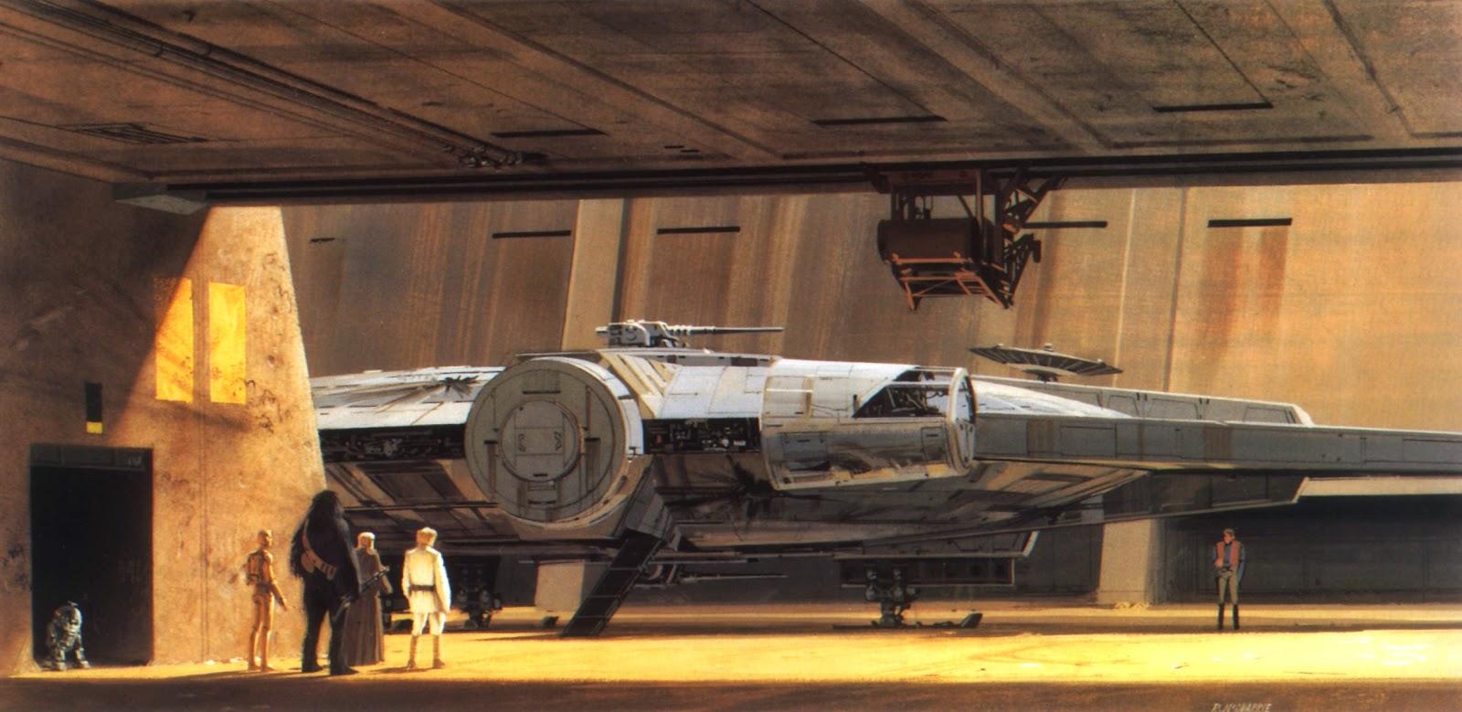 The Millennium Falcon inside a hangar