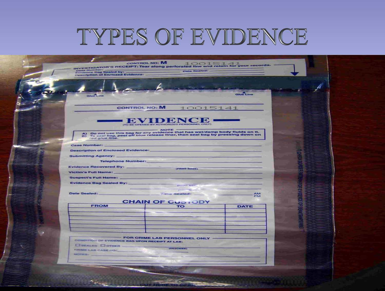 types of evidence Evidence is a huge component of reasoning and argument understanding how evidence works and how it might be questioned, probed, or attacked, significantly boosts students' reasoning ability the following material offers a vocabulary that can operate.