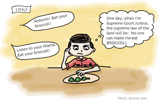 Cartoon about Scalia as child forced to eat broccoli