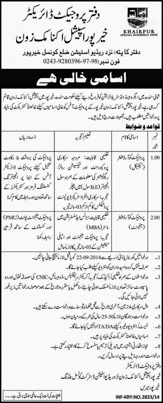 Project Coordinator Vacancies in Khairpur Special Economic Zone, Sindh