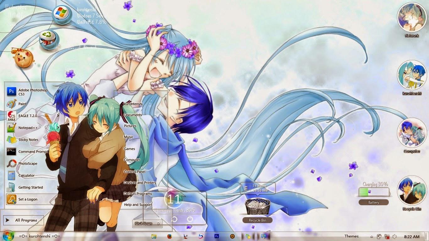 Gmail hatsune miku theme -  Theme Win 7 Hatsune Miku Kaito Shion By Kurohtenshi