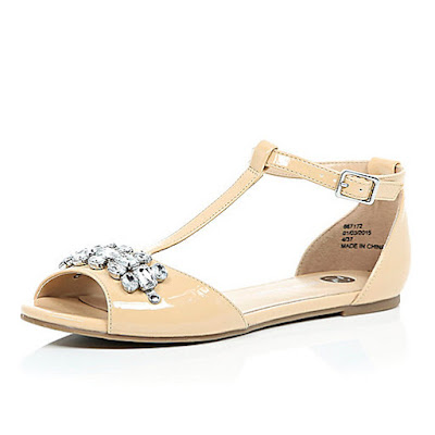 River Island Nude peep toe flats with embellishment