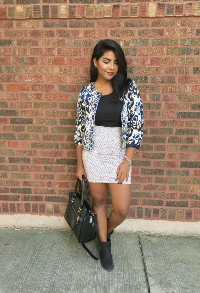 mixing patterns outfit