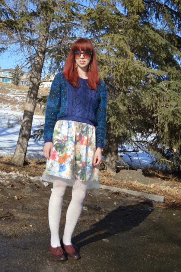 tulle skirt, metallic yarn, camper shoes