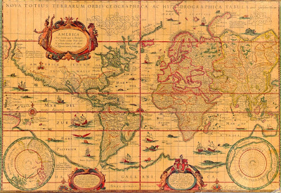 Mapamundi, mapa grande 1456 x 1002 px, publicado por Willem Janszoon Blaeu en 1606