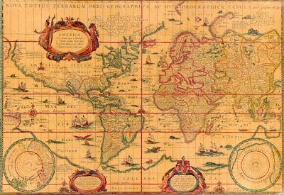 Mapamundi, mapa grande 1456 x 1002 px, publicado por Willem Janszoon Blaeu en 1606