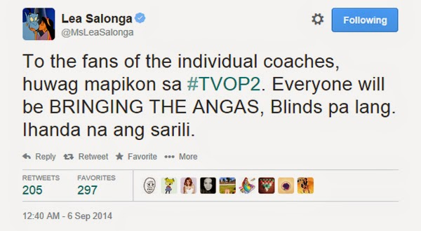 Lea Salonga has a warning to the The Voice coaches' fans