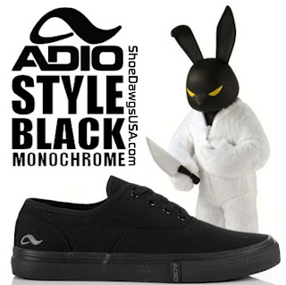 Adio Shoes: The Adio Style Shoe Canvas Black Monochrome