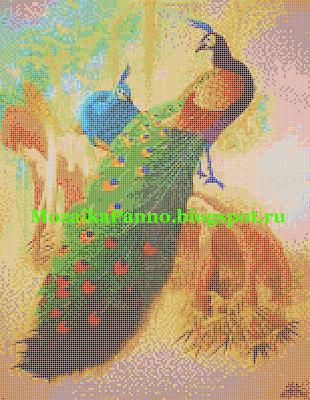 Панно из стеклянной мозаики  «Павлины»
