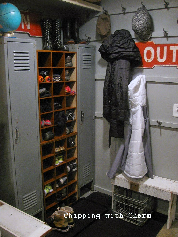 Chipping with Charm:  Basement Entry turned Coat Room...www.chippingwithcharm.blogspot.com