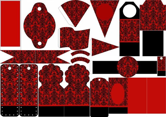 Damasco Negro en Fondo Rojo: Imprimibles Gratis para Fiestas.