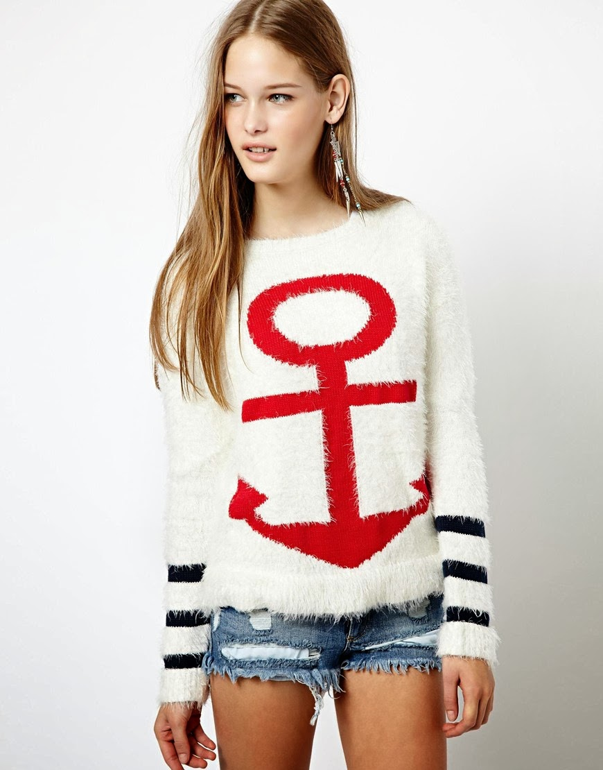 Nautical by Nature | Nautical Sweaters Vero Moda Fluffy Anchor Sweater
