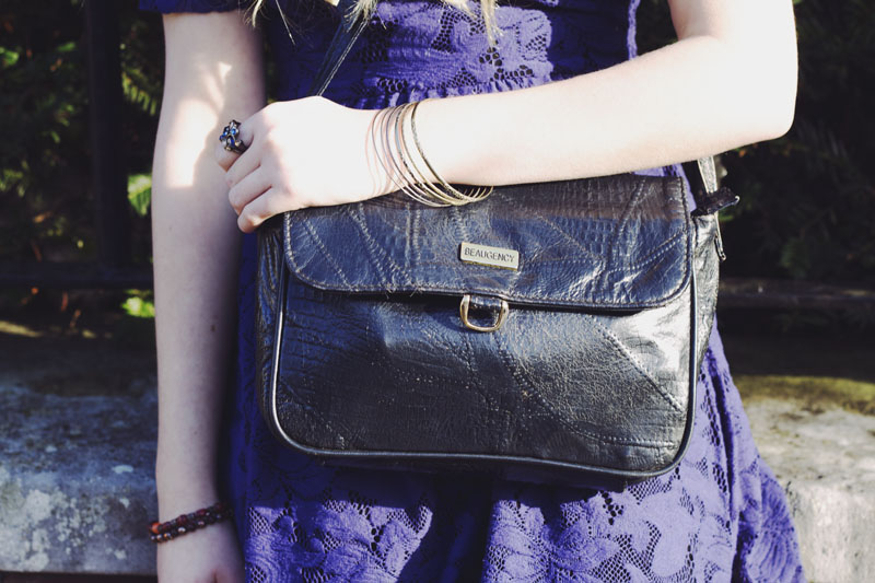 black leather vintage bag