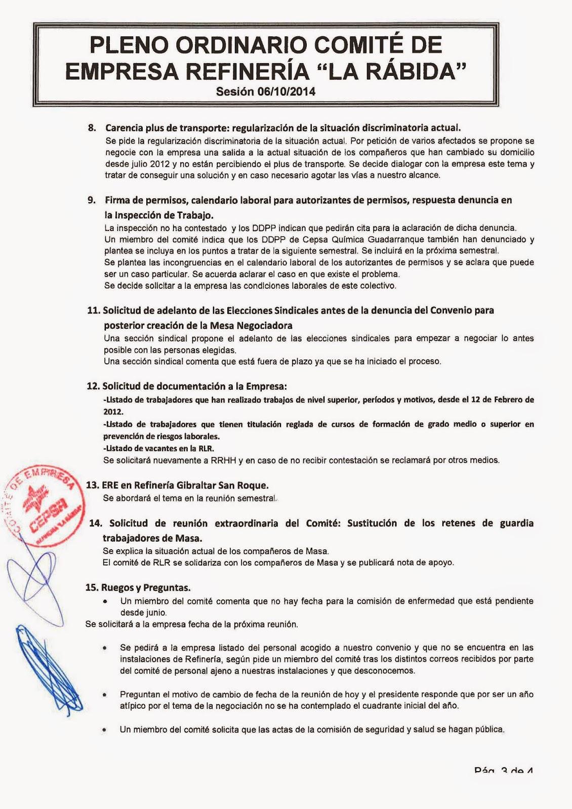 La Antorcha UGT-RLR: ACTA COMITÉ DE EMPRESA REUNIÓN ORDINARIA 6 ...