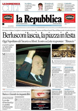 La prima pagina del 13 novembre 2011