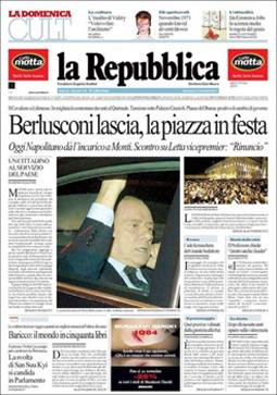 La prima pagina del 13 novembre 2011