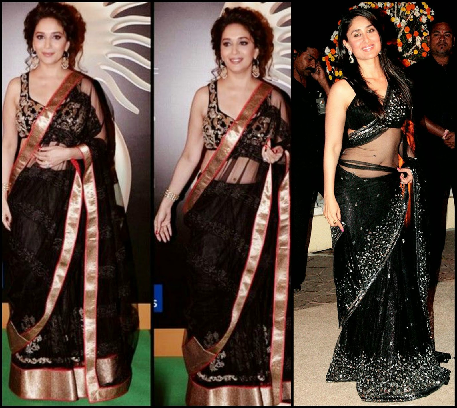 Madhuri & Kareena in Black saree, black net saree