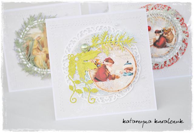Kartka Bożonarodzeniowa, tradycyjna, scrapbooking