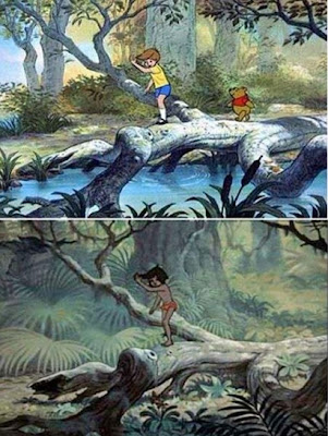 Mowgli and Winnie the Pooh