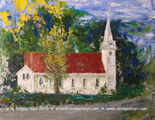 oil painting of little white church