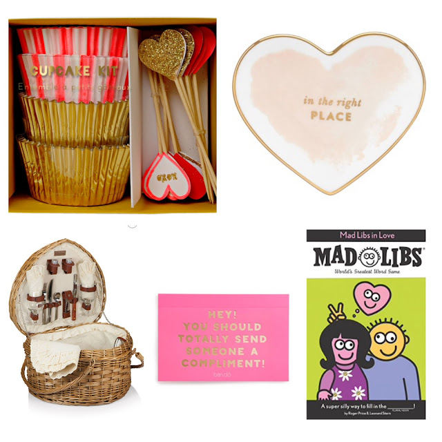 valentine day preppy lifestyle gift ideas mad lib kate spade plate heart shape picnic basket compliment postcards