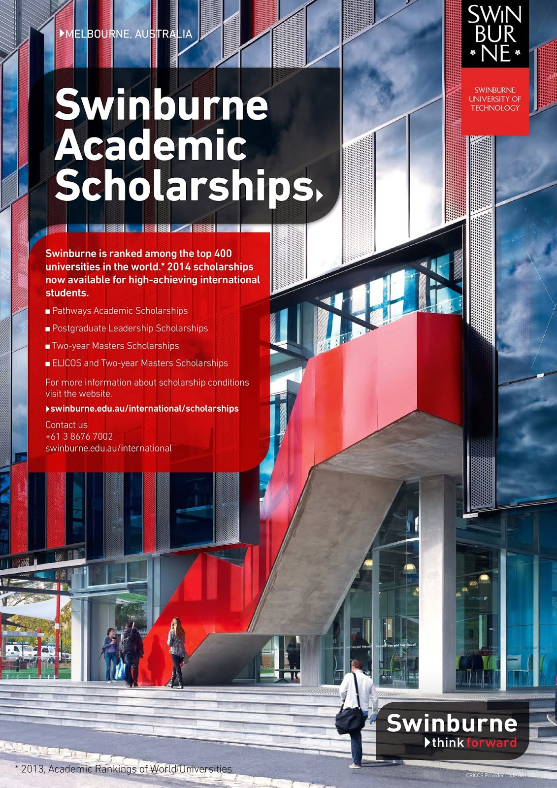 swinburne postgraduate coursework scholarships The swinburne postgraduate coursework scholarships are awarded on academic merit and are available to selected students who apply for a packaged elicos and masters program from overseas.