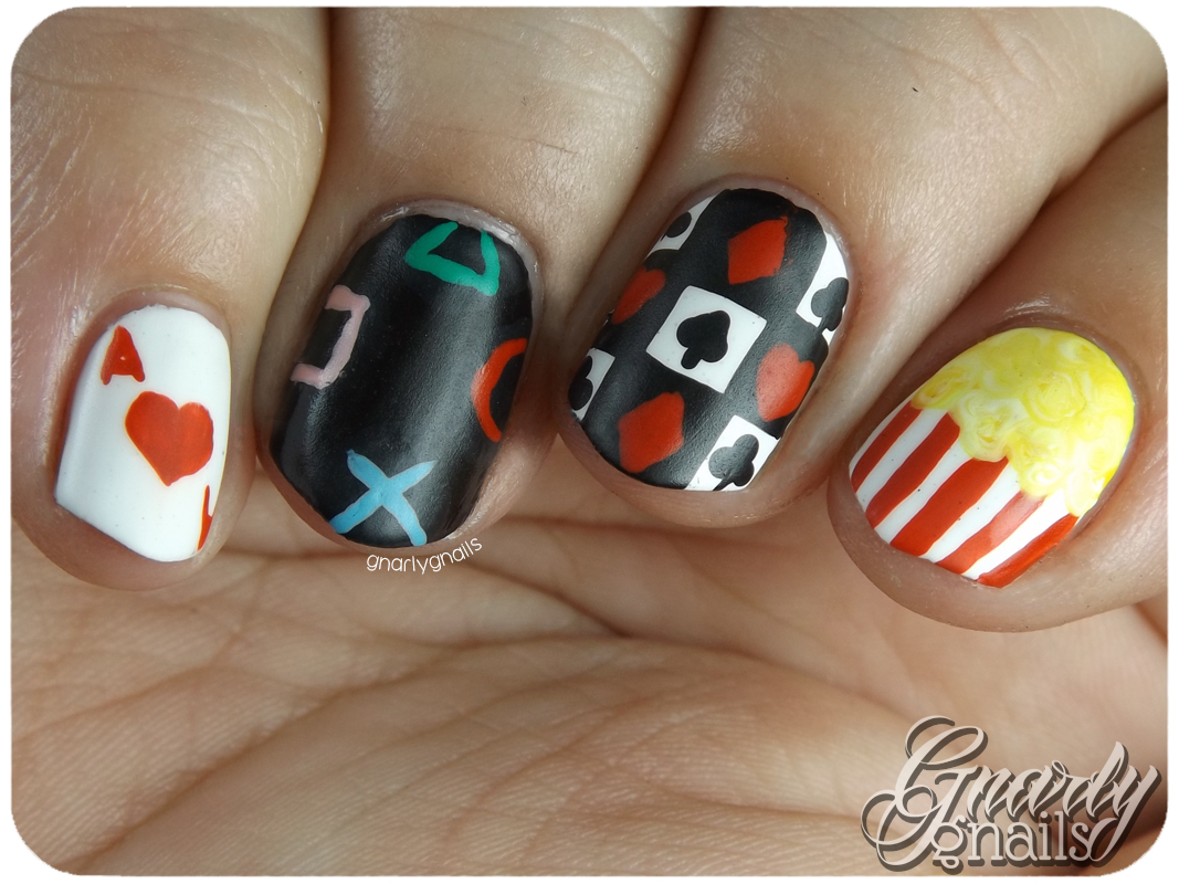 Nail-Art-A-Go-Go - Day 19 - Game Night - Gnarly Gnails
