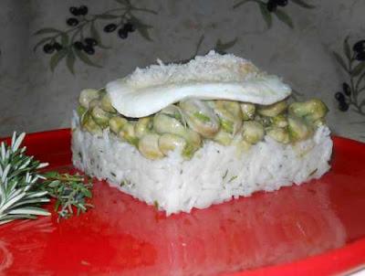 Emplatado de las Habitas fritas sobre arroz de monte con huevo plancha.