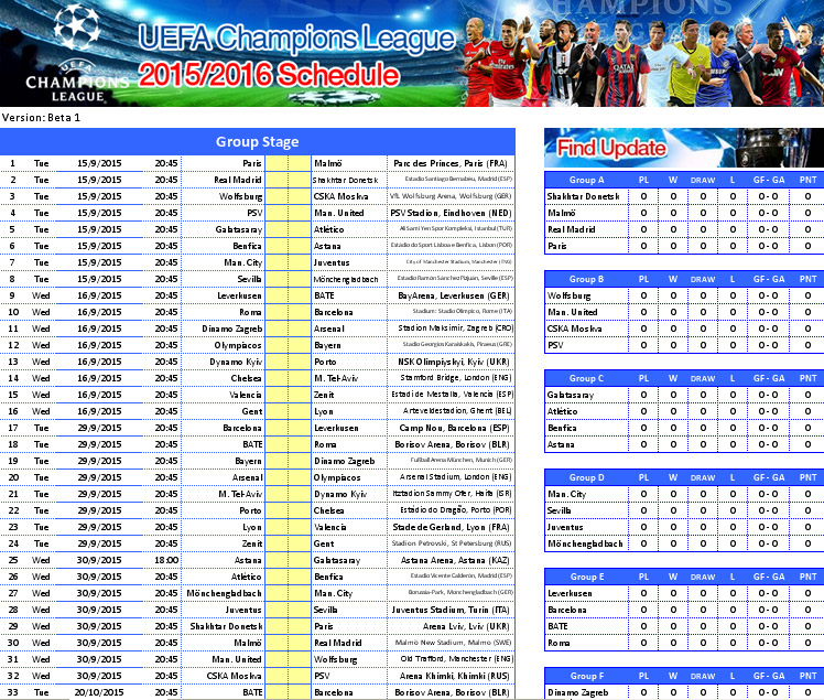 Free download uefa champions league 2015 2016 schedule for League table 2016