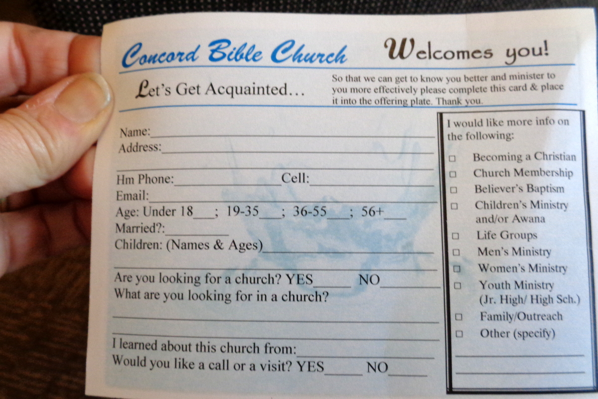 Visitor Cards For Church Template And States September 2015
