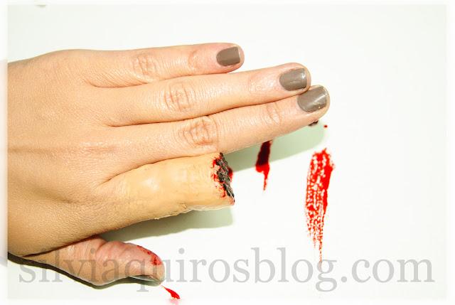 Como hacer dedo mordido con maquillaje de efectos especiales, How to do bitten finger with special effects makeup Halloween Silvia Quirós