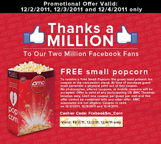 Free Small Popcorn at AMC Theaters