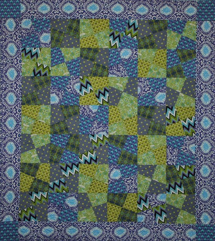 Debra Dennett's Purple and Blue Off-Kilter Bow Tie Quilt