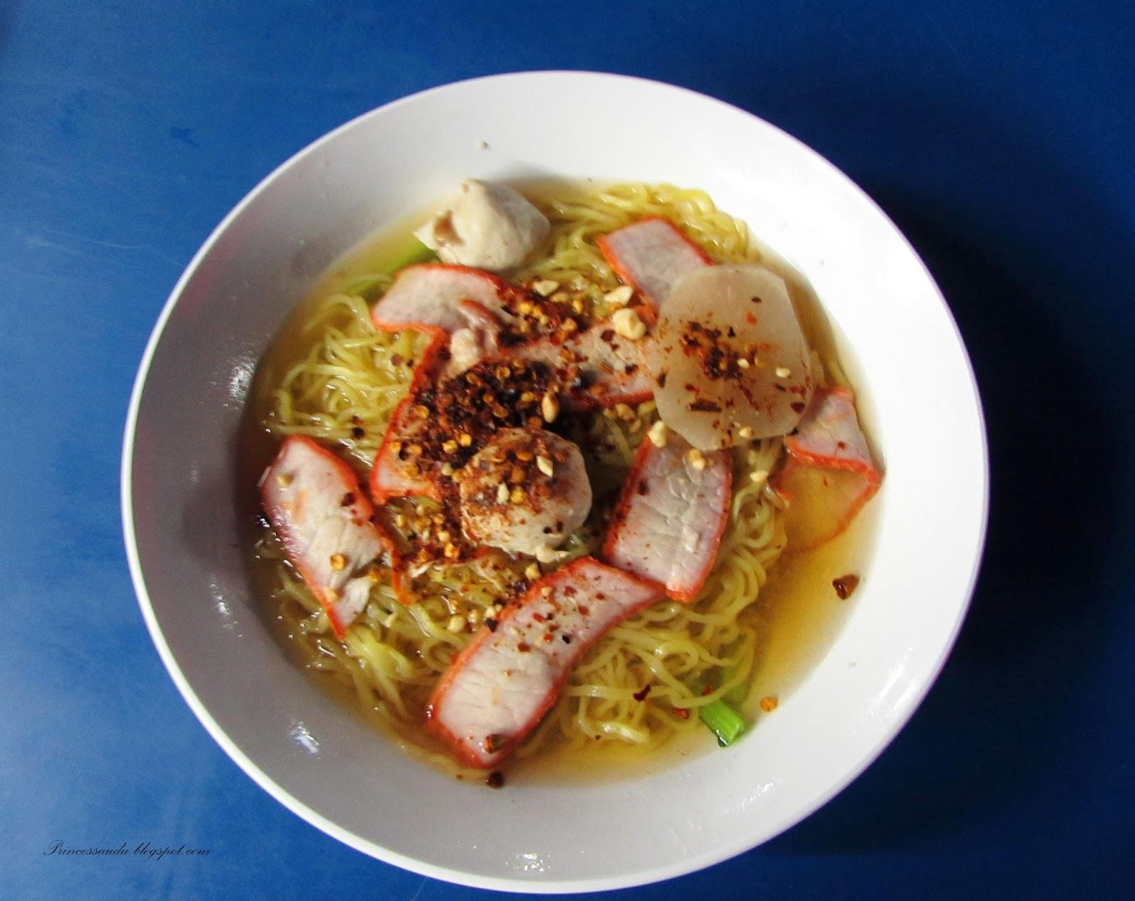 Baa Mee Moo Deng (Red Beef Egg Noodle), Thai food , street food
