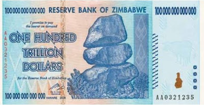 100,000,000,000,000 100 trillion Z$ zimbabwean dollars the biggest bank note in the world