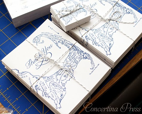 antique Cape Cod map thank you notes from Concertina Pres