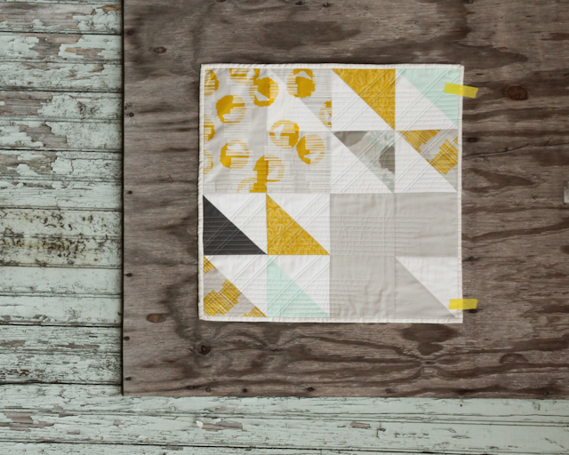 screen printed modern quilt in citron, mint, and grey | by Lovely and Enough