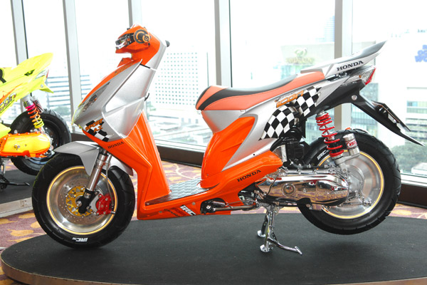 modif honda beat paduan orange krom dan racing modifikasi honda beat  title=