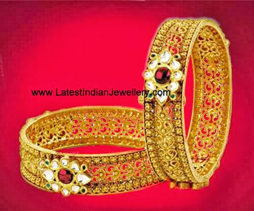 Antique Gold Designer Bangles