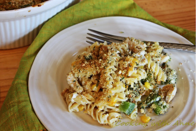 Green Chile Chicken Mac and Cheese Casserole